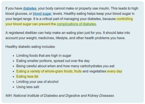 NIH Dietary guidelines for diabetics